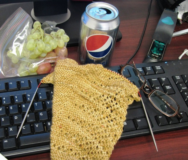 Lunchtime Knitting:  A Hap for Kathi