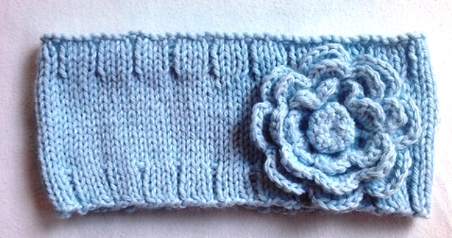 Easy Knit Headband with Crocheted Flower